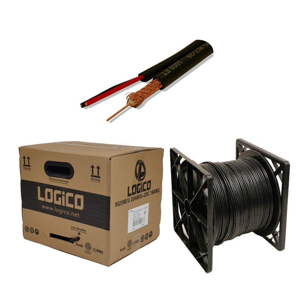 RG59 Siamese Coaxial Cable 1000ft 20AWG+18/2AWG CCTV Security Camera Wire Black