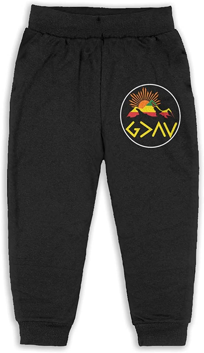Kids God is Greater Than The Highs and Lows Boys Girls Sweatpants Basic Jogger Pants Back Pocket Black