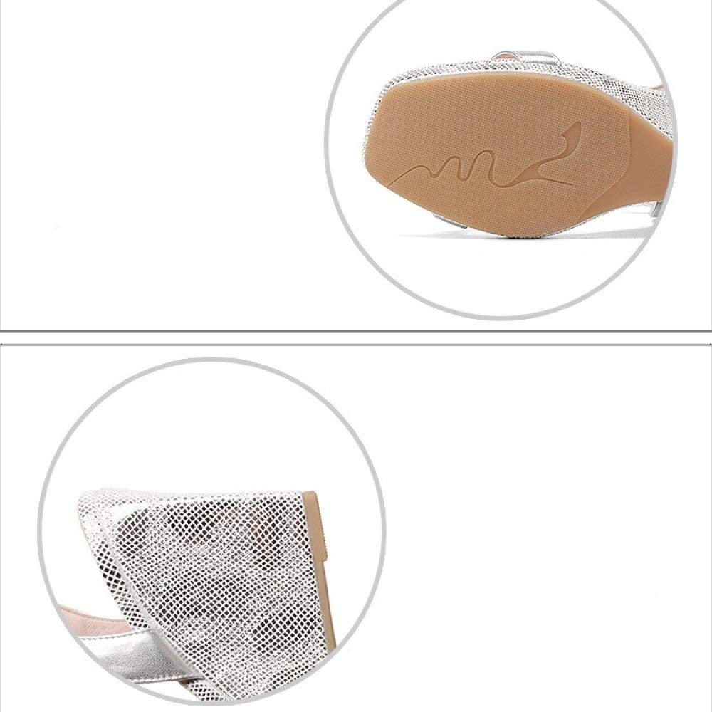Eeayyygch Europa Europa Europa und Amerika hochhackigen Dick mit Damenschuhe Fisch Mund Super High mit Lace Up Sandalen (Farbe   Silber Größe   34) 1640af