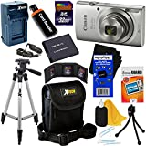 Canon PowerShot ELPH 180 Digital Camera w/ Image Stabilization and Smart AUTO Mode (Silver) - International Version + Battery & AC/DC Charger + 10pc 32GB Dlx Accessory Kit w/HeroFiber Cleaning Cloth