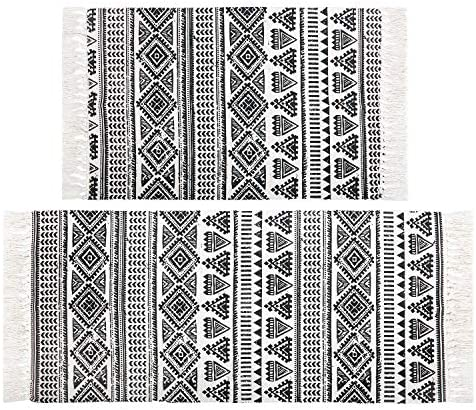 Pauwer Cotton Area Rug Set 2 Piece Washable Printed Cotton Rug