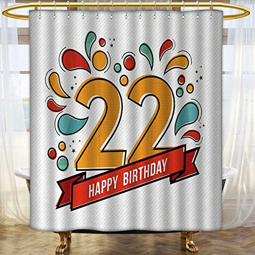 Anhounine 22nd Birthday Shower Curtain Customized Colorful Anniversary Invitation Typography Design with Modern Graphic Print Custom Made Shower Curtain 69