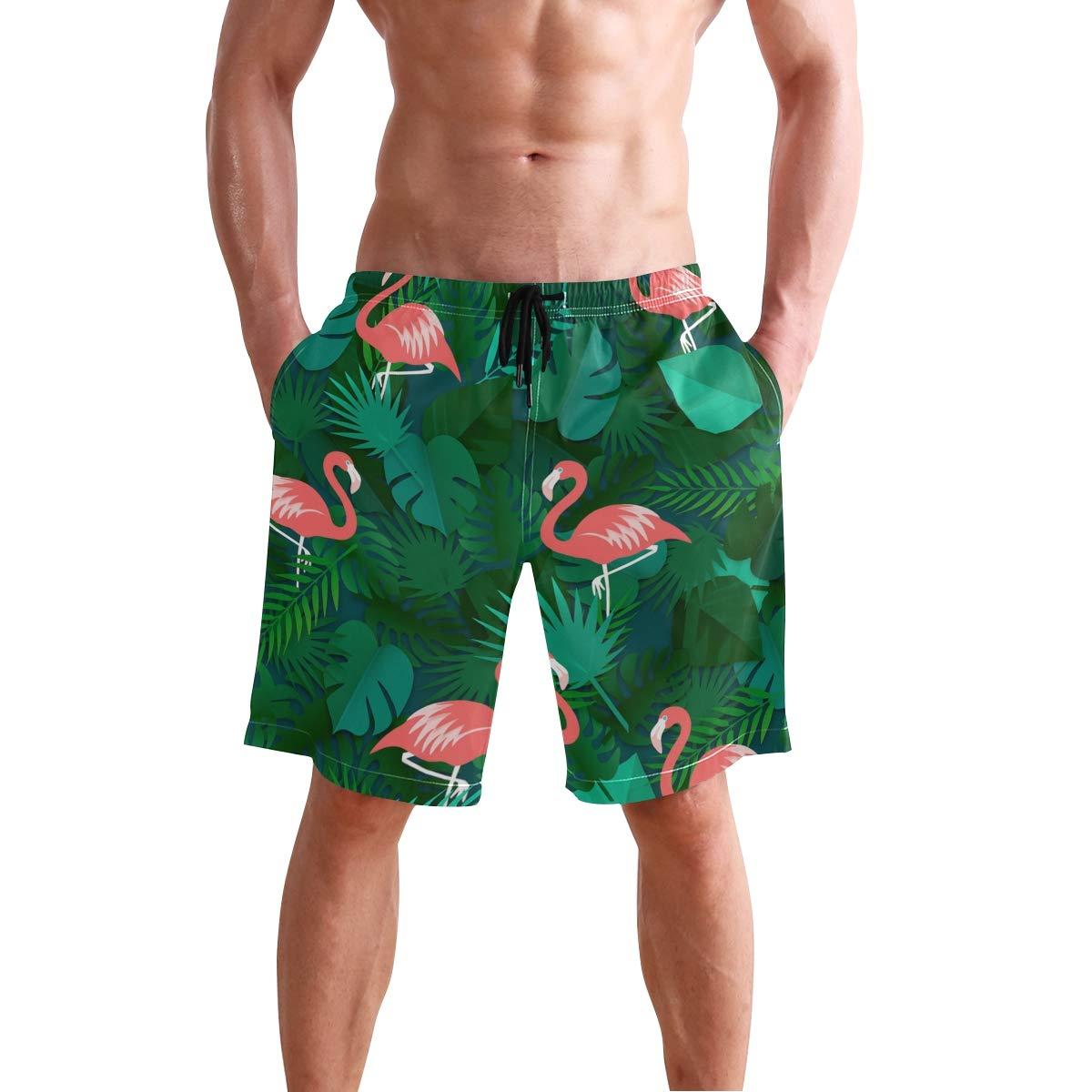 Fashion Flamingo Palm Leaves Shorts Mens Swim Trunks Boardshorts Quick Dry Swimwear with Mesh Lining//Pockets