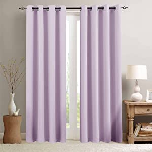 Lilac Blackout Curtains for Girls Room 63 inch Length Darkening Thermal Insulated Living Room Curtain Panels for Bedroom Window Treatment, Grommet Top, 1 Panel