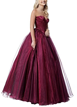 Plus Size Prom Dresses 2018 Sweetheart Lace-Up Back Burgundy US6 Size