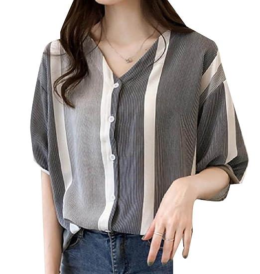 14b00b1e XiaoShop Women Pinstripe Summer Button Down Batwing Sleeve T-Shirts Black S