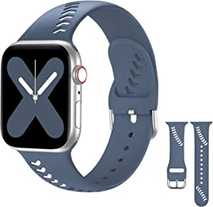 Sport Band Compatible with Apple Watch Bands 38mm 40mm, Baseball Holes Style iWatch Bands 38mm 40mm Soft Silicone Watch Strap Replacement Compatible for iWatch SE Series 6 5 4 3 2 1, Alaskan Blue