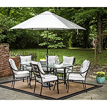 hanover lavallette 7 piece outdoor dining set with table umbrella and base - Patio Table With Umbrella