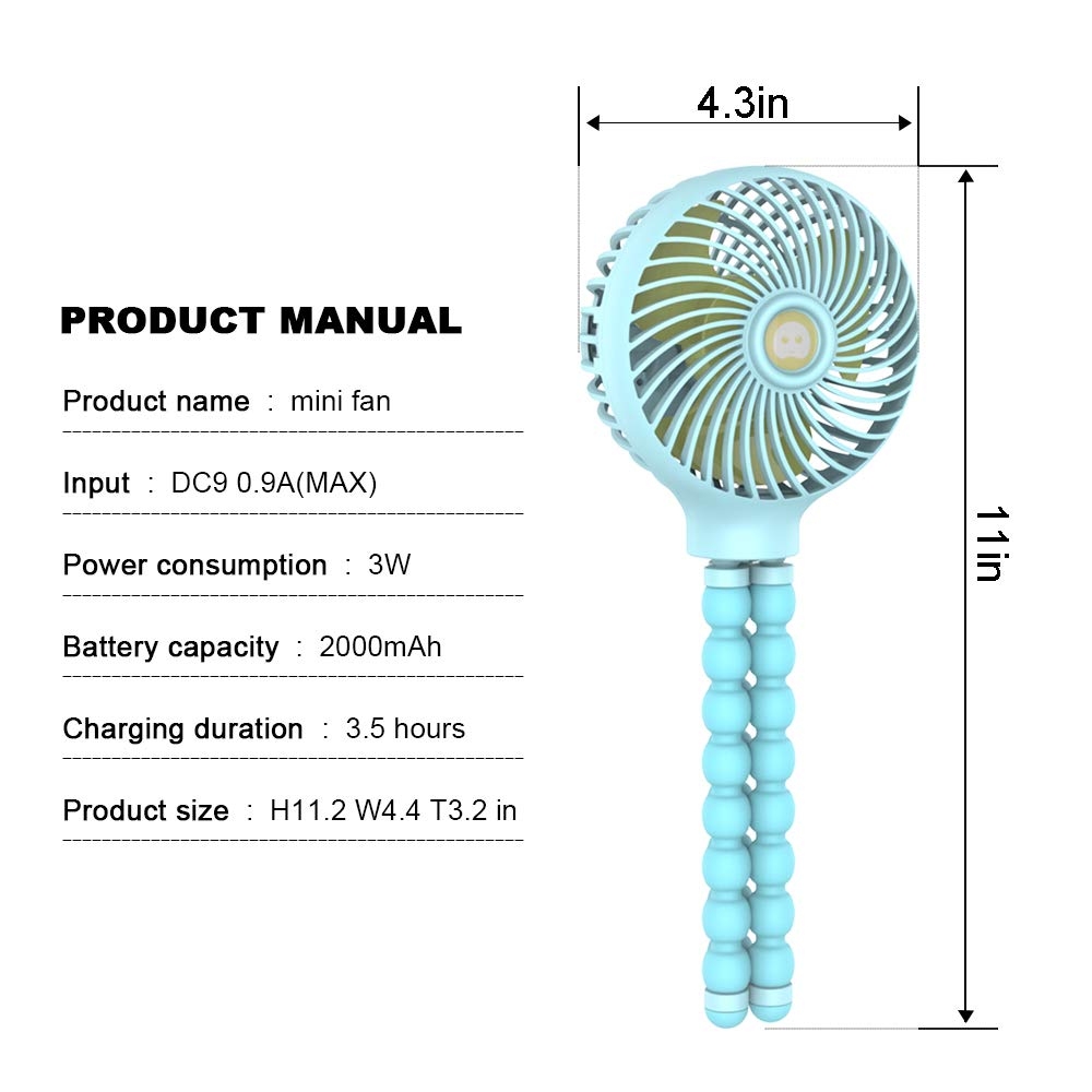 Mini Handheld Stroller Fan,Small Personal Portable Table Fan with USB Rechargeable Battery Operated Cooling Adjustable Electric Desk Fan for Travel Office Room Outdoor Household White