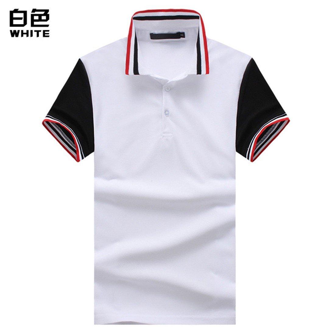 YU & xin-men衣服の夏ファッションメンズThreaded襟半袖ポロshirt-yu & Xin Small ホワイト B07CSLXGXQ