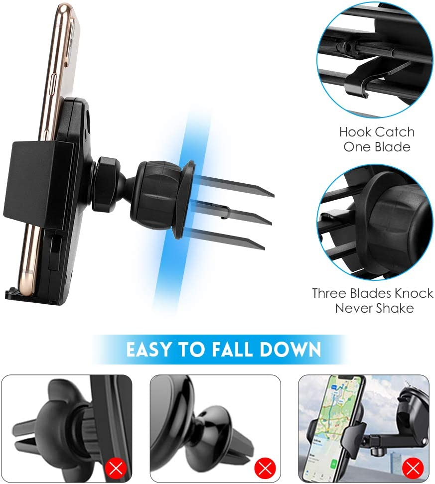 AONKEY Cell Phone Holder Adjustable Hook Clip Cradle Universal for All Smartphones Include iPhone 11 Pro//11 Pro Max//XR//XS//XS Max//X//8//7 Galaxy S9//S10//S10 Plus Note 9//Note 10 Plus Car Vent Phone Mount