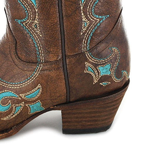 M 7 Cowgirl Circle Women's Snip G US Boot Brown Toe Embroidered 84qxztw4p