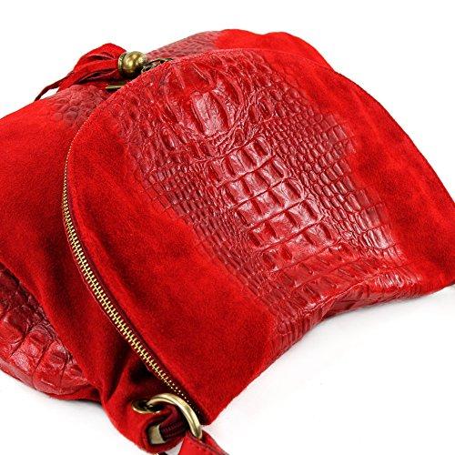 modamoda de - ital. Bolsa para mujer, de hombro, para piel ante/cocodrilo T68 Rot Wildleder/Kroko Large