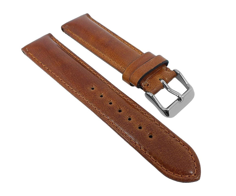 Minott Uhrenarmband Cordovan Pferdeleder Leder Braun mit Naht Handgearbeitet 27266 - Schließe:Silbern - Stegbreite