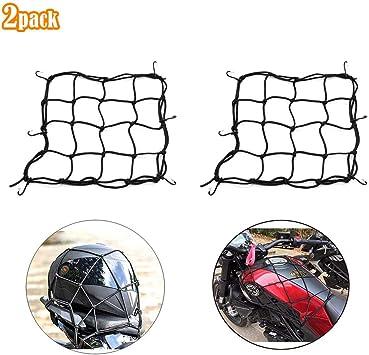 Ygsat 2 Stück Gepäcknetz Motorrad 30x30cm Fahrrad Netz Helmnetz Mit 6 Haken Spannnetz Helmnetz Spannnetz Elastisch Für Motorrad Fahrrad Für Befestigung Helm Gepäcktasche Auto