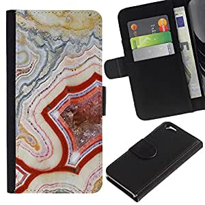 KingStore / Leather Etui en cuir / Apple Iphone 6 / Patrón Geología Roca Roja Naturaleza