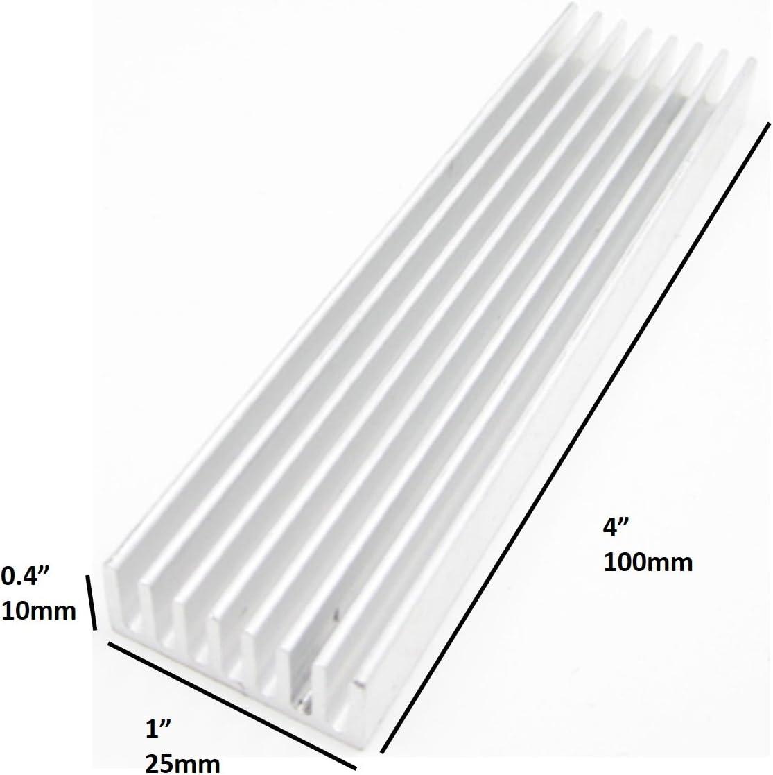 6pcs 50*25*10mm Silver Aluminum Heat Sink