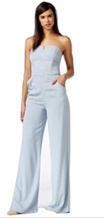 b0a55bd3a7eb Amazon.com  Rachel Rachel Roy Women Wide Leg Denim Jumpsuit Blue Large   Clothing