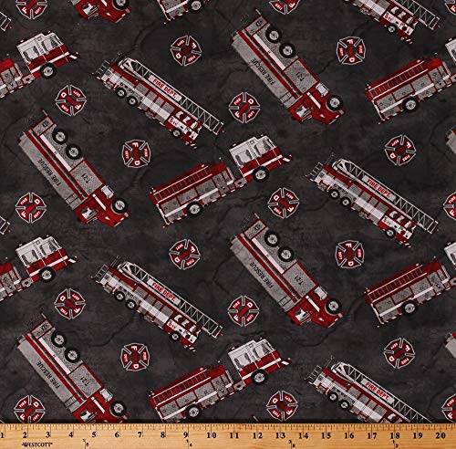 - Cotton Fire Trucks Firetrucks Firefighters Fire Department Badges on Gray Thin Red Line Cotton Fabric Print by The Yard (D684.51)