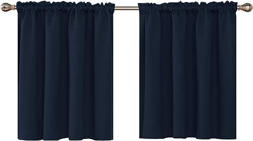 Deconovo Embossed Window Curtain Valances Blackout Rod Pocket Curtain Valance for Bathroom Windows 42×36 Inch Navy Blue 2 Panels