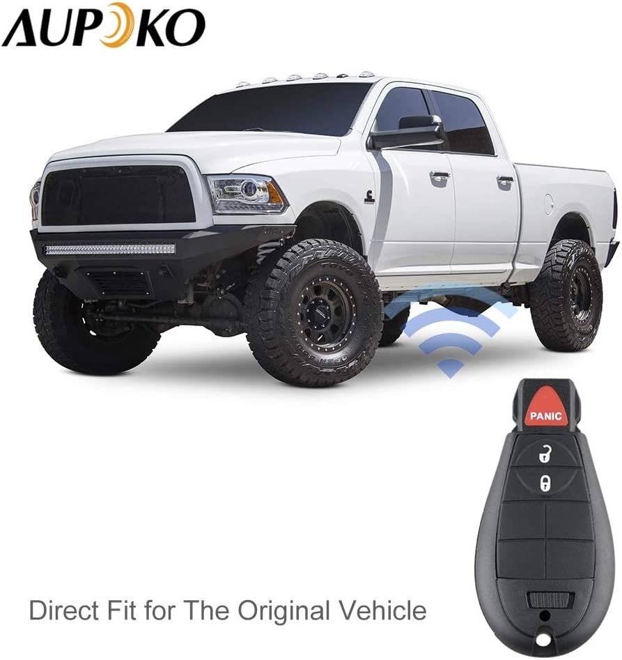 Aupoko GQ4-53T Keyless Entry Remote Key Fob 3 Buttons Smart Key 56046953,56046953AE 56046953AC,56046953AG Fits for Dodge Ram 1500 2500 3500-2 PC