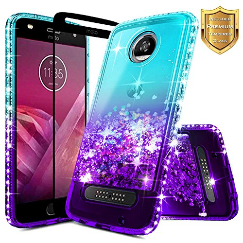Moto Z2 Play Case w/[Full Cover Tempered Glass Screen Protector] NageBee Glitter Liquid Quicksand Flowing Sparkle Shiny Diamond Girls Cute Case for Motorola Moto Z Play (2nd Generation) -Aqua/Purple