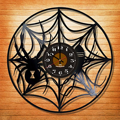 Spider Web Clock (Spider and a Web Vinyl Record Wall Clock - Exciting guest room decor - perfect gift idea for children, adults, men and women - Spider Web Net Unique Art)