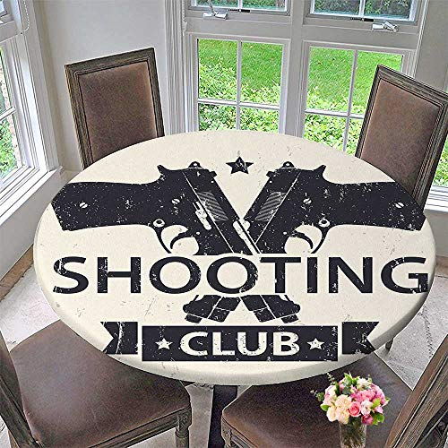 (Mikihome Modern Table Cloth Shooting Club Emblem Sign with Crossed Guns Pistols Background Indoor or Outdoor Parties 47.5