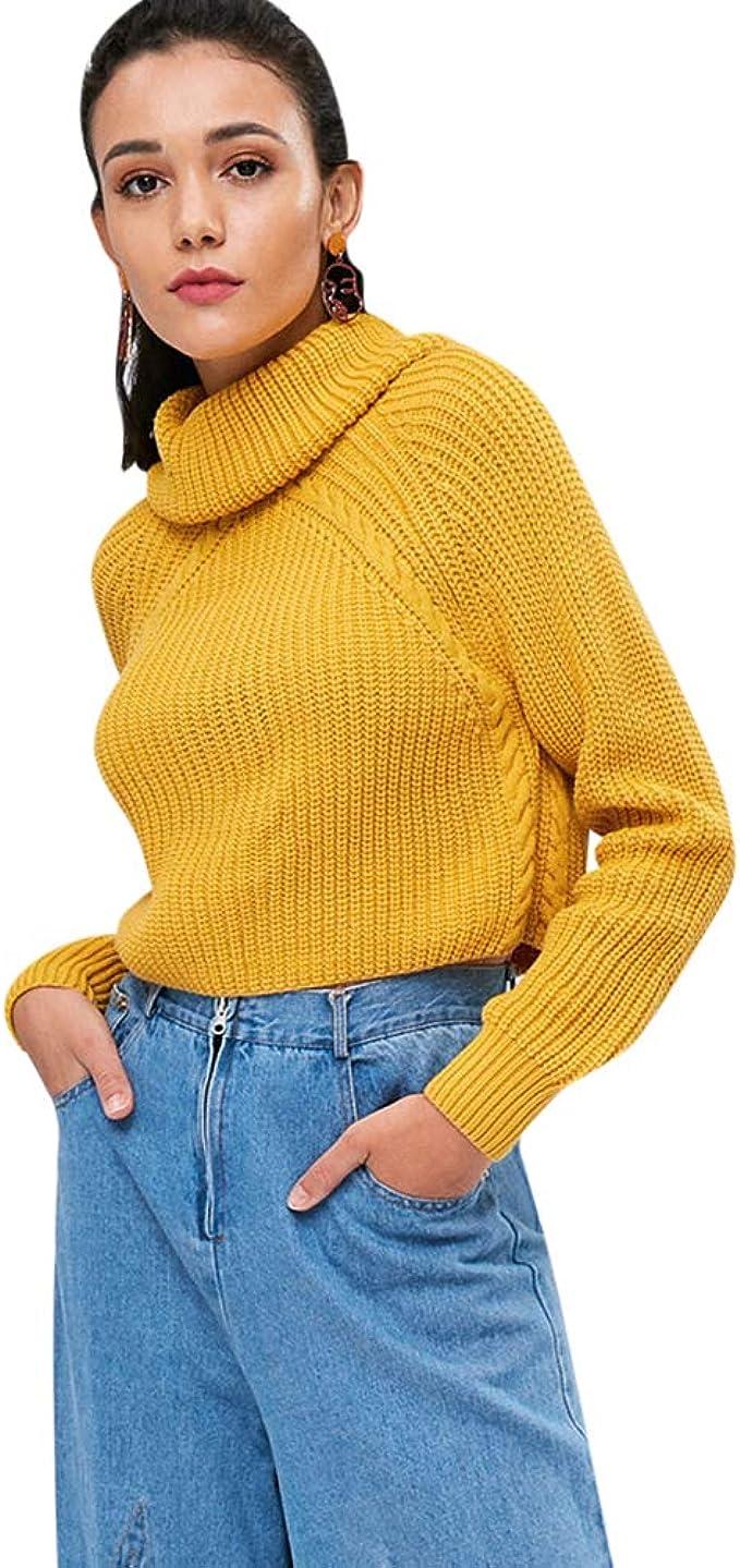 TALLA S. Zaful Jersey corto de cuello redondo 2018 elegante camiseta cuello alto manga raglán suéter invierno otoño casual 2018 moda abrigo amarillo violeta