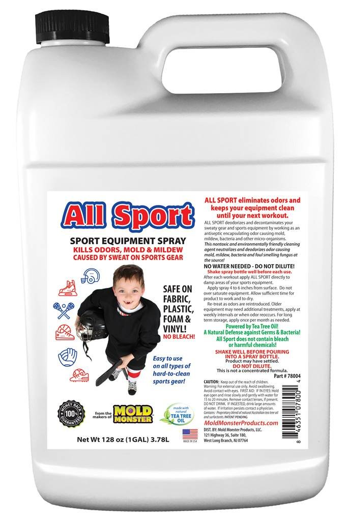 All Natural ALL SPORT Smell, Bacteria and Mold Eliminator - For ALL Sports Equipment from Cleats and Helmets to Lockers and Bags - 1 Gallon Bottle Kills Odors, Mold and Mildew - Hockey, Football etc