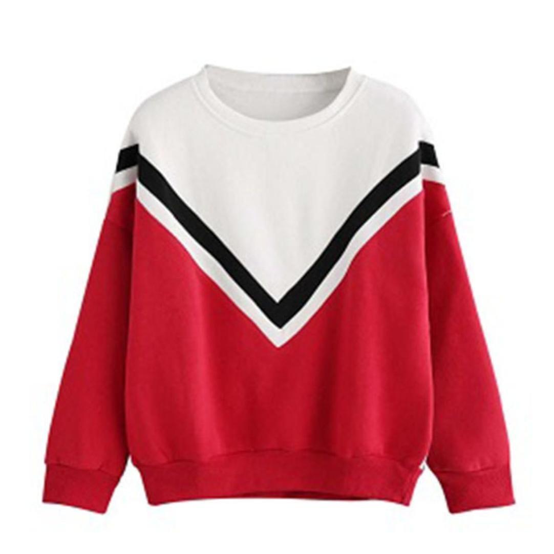 Sudadera Mujer, ❤️Xinan Camiseta de manga larga con apliques bordados para mujer Sudaderas con capucha Blusa rosa Jersey Blusa de patchwork casual para mujer Xinantime_3439