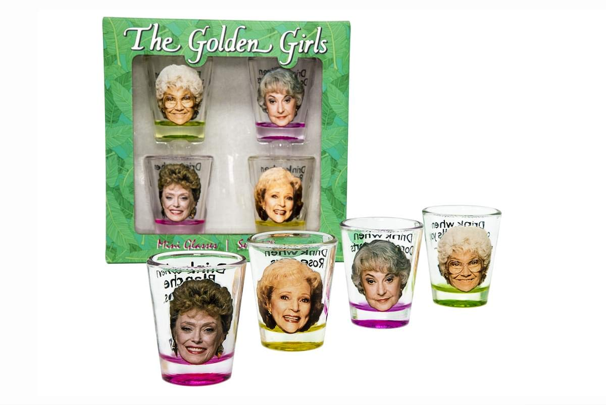 Golden Girls Shot Glasses | Fun Drinking Games | Set of 4 Collectible Glasses | Perfect For Parties, Game Night, Bachelor, Bachelorette Party, College Graduation and Birthdays