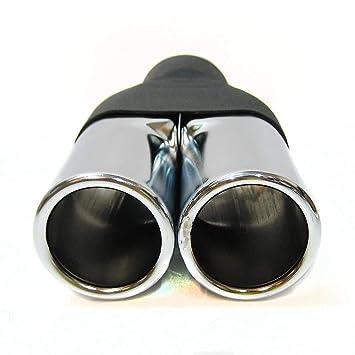 Silenziatore universale 0075 per auto doppio doppio tubo di scappamento in acciaio inox cromato