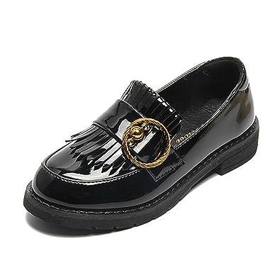 10eaf2486edc CYBLING Girls Tassel Loafers Patent Leather Flat Girls Dress Shoes Kids ( Toddler/Little Kid
