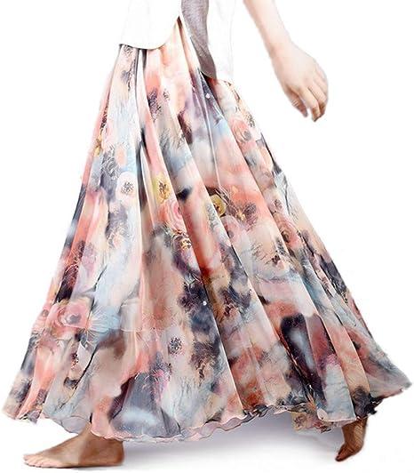 DAHDXD Moda Femenina Estampado Floral Falda Larga Estilo Boho ...