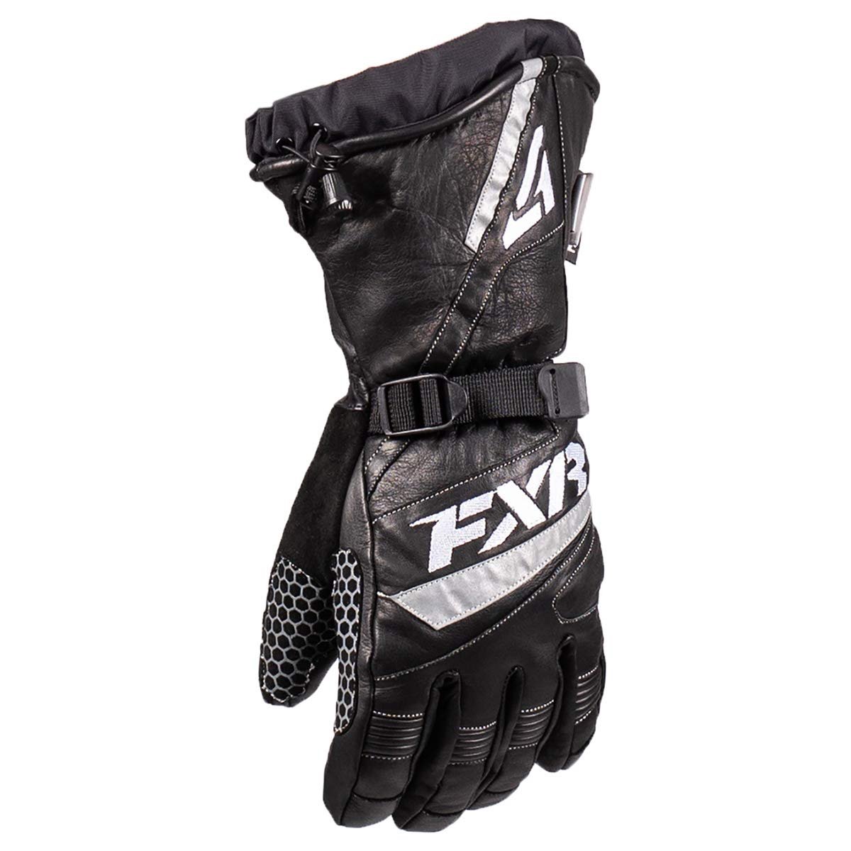 NEW FXR-SNOW GAUNTLET ADULT LEATHER/WATERPROOF GLOVES, BLACK, LARGE/LG