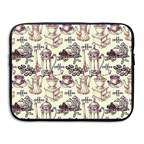 XINSHOU Coffee Beans With Old Espresso Machine In Sketch Hand Drawn Laptop Sleeve Case Bag Cover For 13-15 Inch Notebook Computer 13 Inch