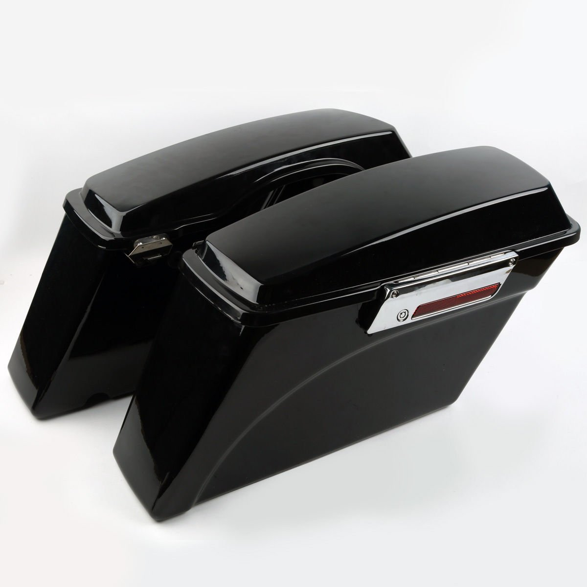 XFMT Gloss Black Hard Saddle bags Trunk w/Lid Latch & Key+Saddlebag Conversion Brackets Mounts Compatible with Harley Davidson Softail 1994-2013 by XFMT (Image #2)