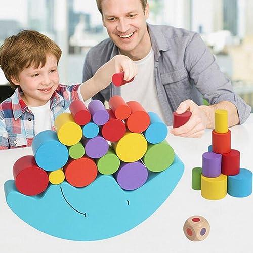 SODIAL 1 Set Bebe Enfants Jouets Moon Balance Jeu et Jeux Jouet pour 2-4 ans Fille et garcon (Bleu)