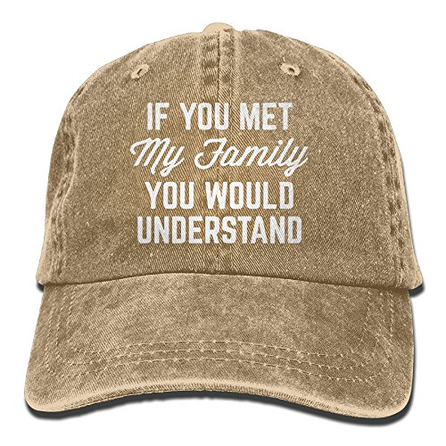 E-Isabel If You Met My Family You Would Understand Adjustable Hiphop Cotton Washed Denim Caps (Series Pourer)