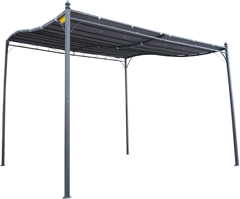 Outsunny - Pérgola de jardín (2,97 x 2,97 m, Metal Negro, poliéster impermeabilizado, Anti-UV, Gris)