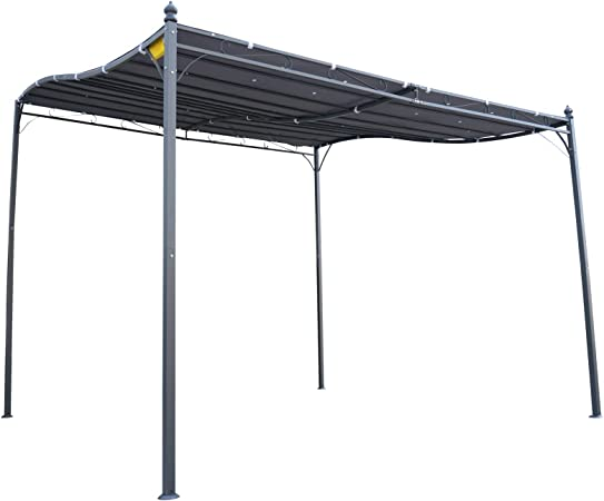 Outsunny - Pérgola de jardín (2, 97 x 2, 97 m, Metal Negro, poliéster impermeabilizado, Anti-UV, Gris): Amazon.es: Jardín