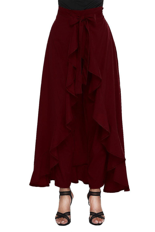 vaidehi creation Women' Ruffle Pants Split High Waist Maxi Long Crepe Palazzo Overlay Pant Skirt