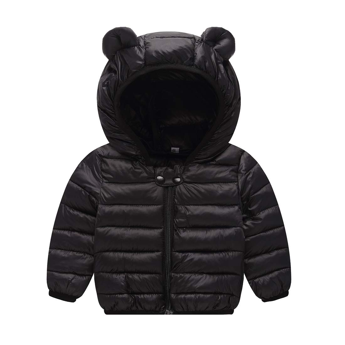 JIEEN Baby Boys Girls Lightweight Warm Down Cotton Coat for Age 0-3 Years Old (M, Black)