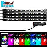 Interior Car Lights, URPIRE 4Pcs 36 LED DC 12V Multicolor Music LED Strip Light for Car Decoration Under Dash Lighting Kit with Sound Active Function and APP Wireless Remote Control, Car Charger