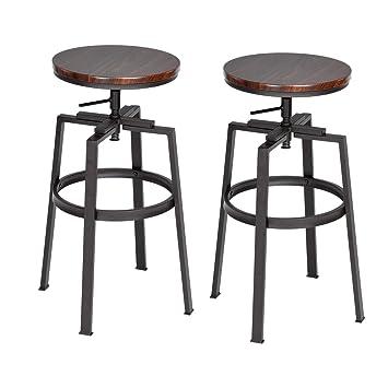 c5b7577cadf13d Lot de 2 Chaises de Bar Style industriel vintage Tabourets de Bar Dessus en  bois MDF