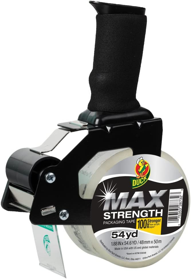 Foam Handle Tape Dispenser with Duck MAX Strength Packing Tape, 1.88 Inch x 54.6 Yard, Clear (284984), Black : Office Products