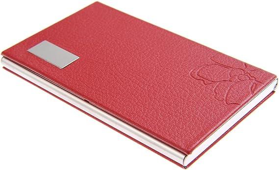 Tarjetero/Estuche para tarjetas de visita, hecho de acero inoxidable de alta calidad, elegante y femenino gracias a su forro de polipiel con flores, para 10-12 tarjetas, de rojo, 439-03 (DE): Amazon.es: Oficina