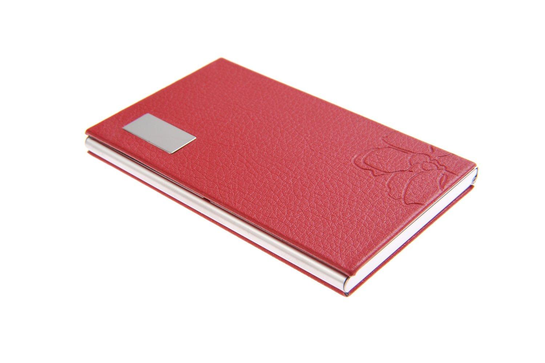 Visitenkartenetui / -halter aus hochwertigem Edelstahl, elegant feminin dank Kunstlederapplikation mit Blütenprägung, für 10-12 Visitenkarten, Farbe: rot, Mod. 439-03 (DE) für 10-12 Visitenkarten