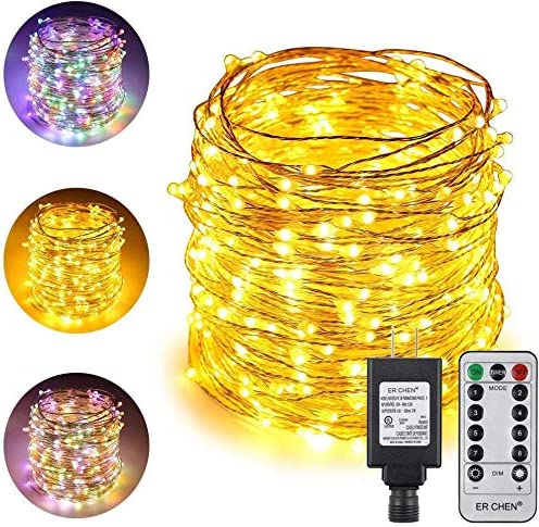 ErChen Dual-Color LED String Lights, 165 FT 500 LEDs Plug in Silvery Copper Wire 8 Modes Dimmable Fairy Lights with Remote Timer for Indoor Outdoor Christmas Multicolor Warm White